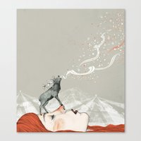 lady Canvas Prints featuring Deer Lady! by Sandra Dieckmann