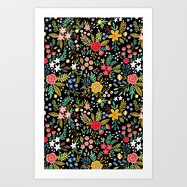 Amazing floral pattern with bright colorful flowers, plants, branches and berries on a black backgro Art Print