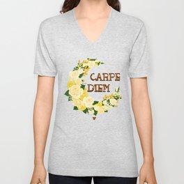 Crescent Bloom | White roses , lemons n lilies  Unisex V-Neck