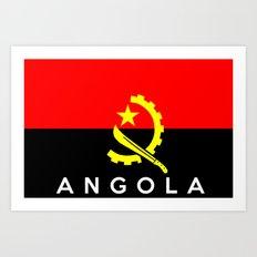 Angola country flag name text Art Print