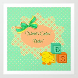 Peach, Green & Yellow Baby Blocks & Rubber Duck Art Print