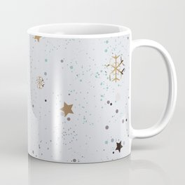 Cute Winter Pattern With Golden Lines, stars and snowflakes Coffee Mug