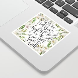 O holy night with white flowers Sticker