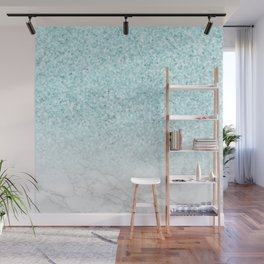 Turquoise Glitter and Marble Wall Mural