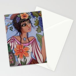 Vineyard Muse or Monica watches the little yellow butterfly while hiding a hair pin for just in case Stationery Cards