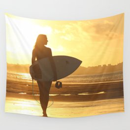 Surfer on the Beach (Woman) Wall Tapestry