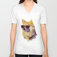 doge V-neck T-shirts featuring Polygonal Doge  by Michael Fortman
