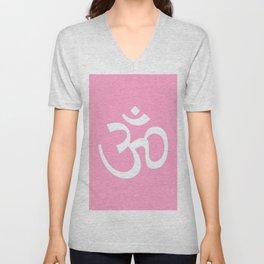 Om / Ohm / Aum Light Pink & White Unisex V-Neck