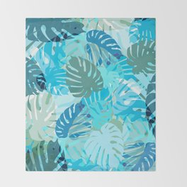 Tropical Blues Throw Blanket
