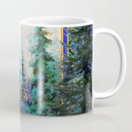 PINE TREES BLUE FOREST  LANDSCAPE TEAL PATTERN Coffee Mug