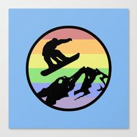 snowboarding Canvas Prints featuring snowboarding 2 by Paul Simms