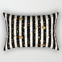 Stripes & Gold Splatter Rectangular Pillow