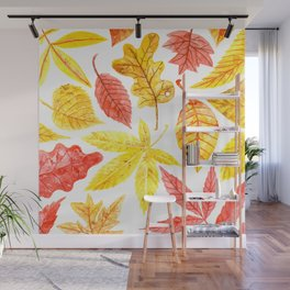 Atumn leaves watercolor Wall Mural