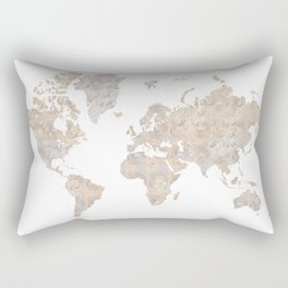 "World map in gray and brown watercolor ""Abey"" Rectangular Pillow"