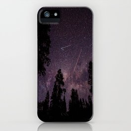Busy Sky - Shooting Stars, Planes and Satellites in Colorado Night Sky iPhone Case