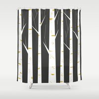 birch Shower Curtains featuring Birch forest by FLATOWL