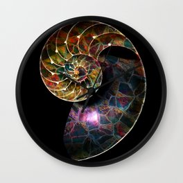 Fossilized Nautilus Shell Wall Clock