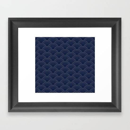 Japanese Blue Wave Seigaiha Indigo Super Moon Pattern by surfacemaximus