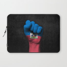 Haitian Flag on a Raised Clenched Fist Laptop Sleeve