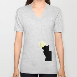 Moon and black cat Unisex V-Neck