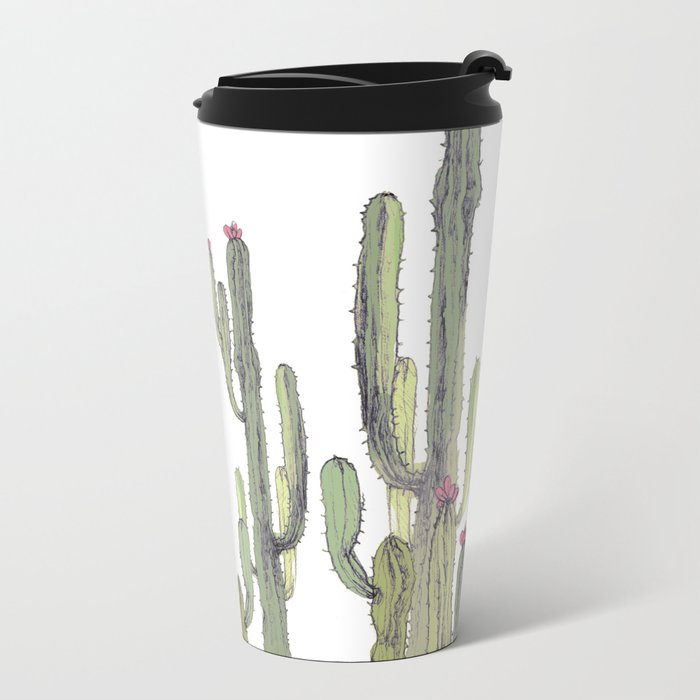 cactus in nature Metal Travel Mug