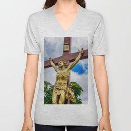 Crucifixion of Jesus Unisex V-Neck