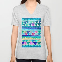 Bright Bunting - fun blue, pink & emerald green painted triangles Unisex V-Neck