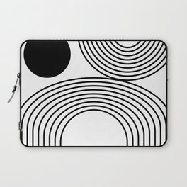 Modern Minimalist Line Art in Black and White Laptop Sleeve