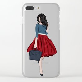 Romantic look, girl in red skirt Clear iPhone Case