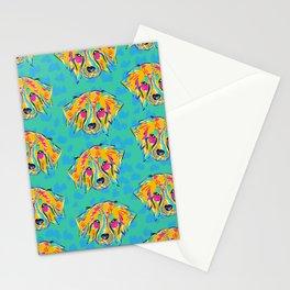 Bright Dog Pattern   Blue Stationery Cards