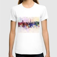 washington dc T-shirts featuring Washington DC skyline in watercolor background  by Paulrommer