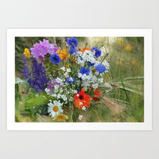 Wildflowers in a summer meadow Art Print