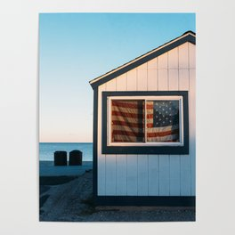 American Flag at Sunset Poster