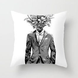 Flower Man Throw Pillow