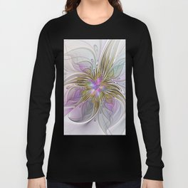 Flourish, Abstract Fractal Art Flower Long Sleeve T-shirt