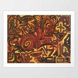 Orange Symbols Art Print