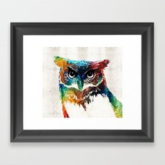 Colorful Owl Art - Wise Guy - By Sharon Cummings Framed Art Print