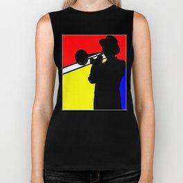 Jazz trombone player silhouette mondrian colors Biker Tank
