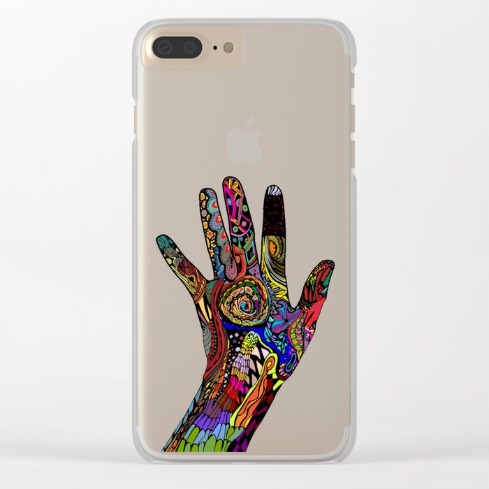 Doodle Hands Clear iPhone Case