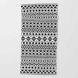 Aztec Essence Pattern Black on White Beach Towel