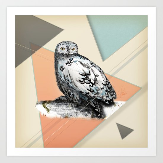 Owl McSit by carographic Art Print