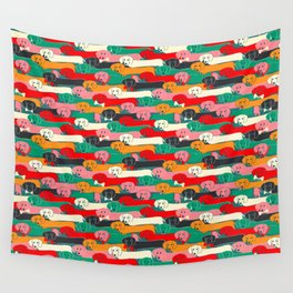 dachshund pattern- happy dogs Wall Tapestry