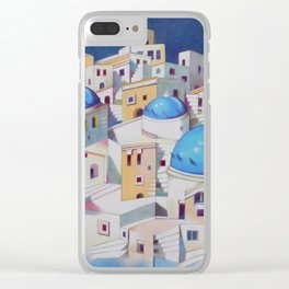 Memory of Santorini Clear iPhone Case
