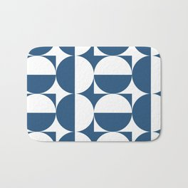 Mid century white and blue Bath Mat