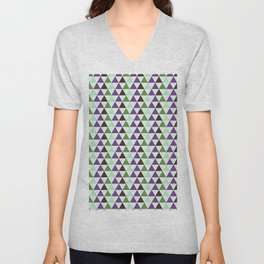 Geometrical purple green abstract triangles pattern Unisex V-Neck