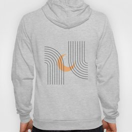 Geometric Lines in Black and Beige 18 (Rainbow and Moon Abstraction) Hoody