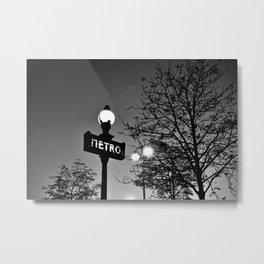 Metro sign, Paris Metal Print