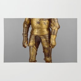 Vintage Golden Knight Armor Photograph (1527) Rug