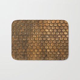 Weathered wall of wooden shingles Bath Mat
