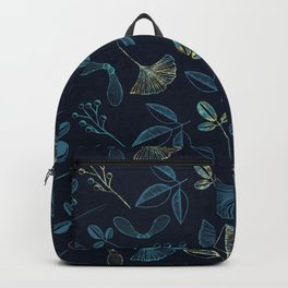 Seeds and Leaves print - blue. Backpack